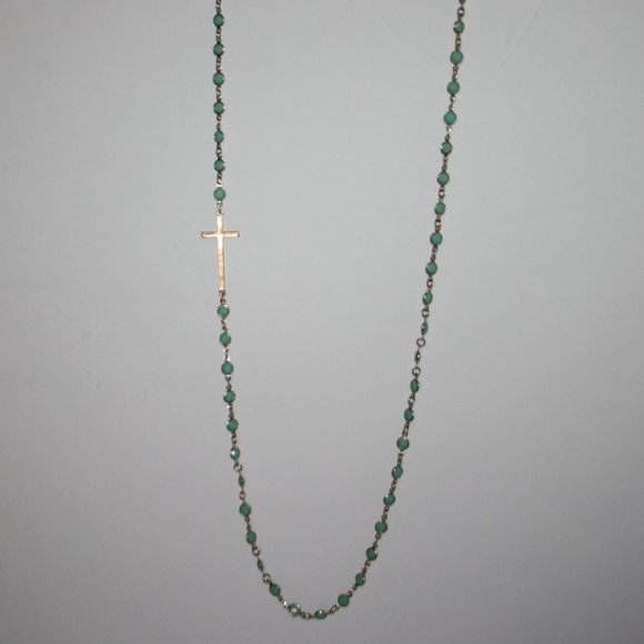 """Long gold and sea foam green cross necklace 36"""""""